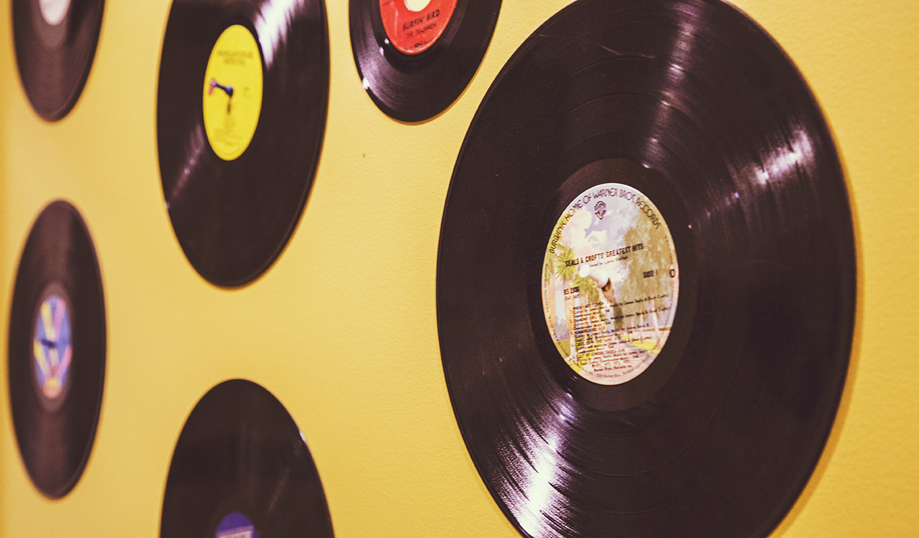 vinyl records on wall image