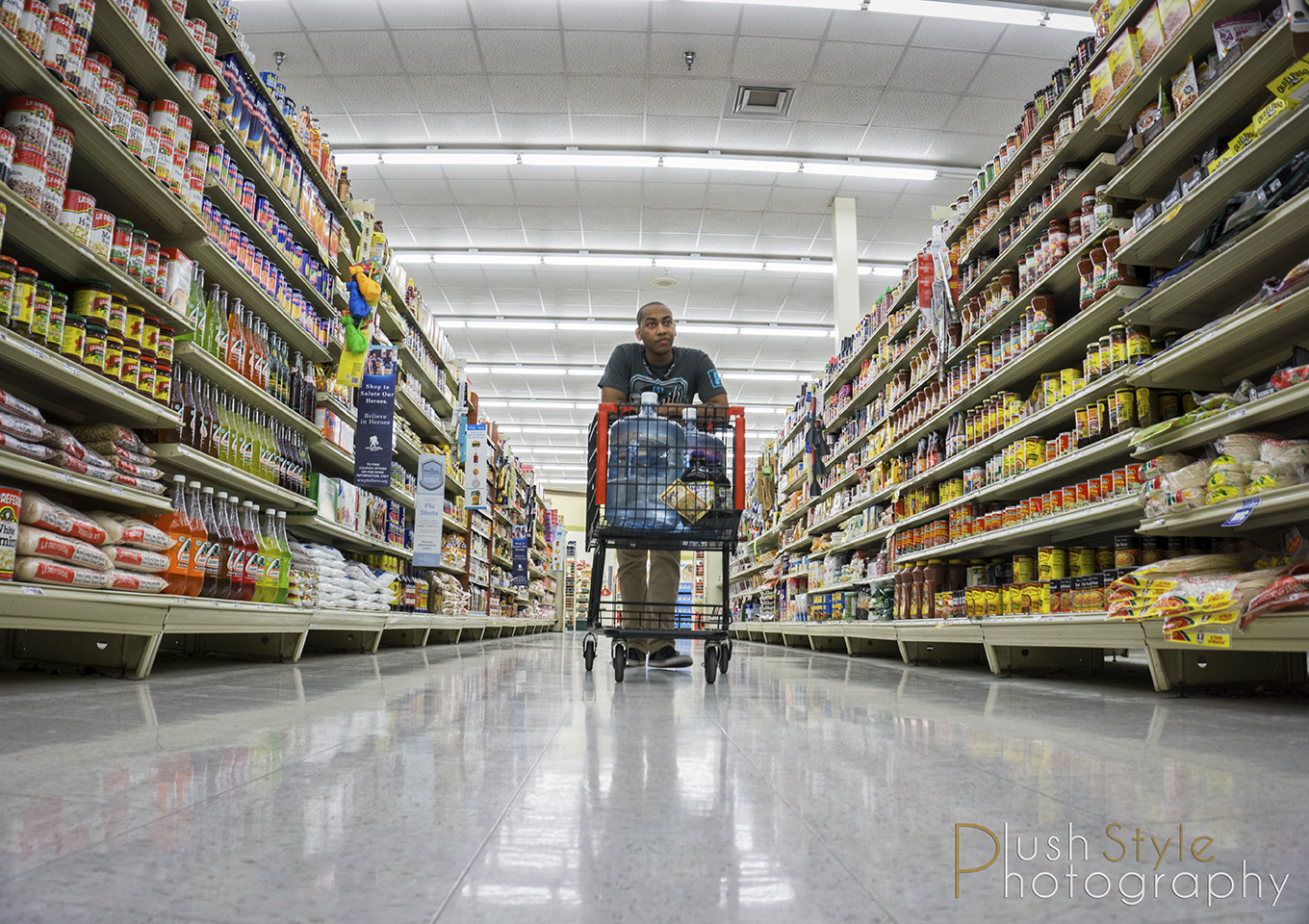 push cart in grocery store image